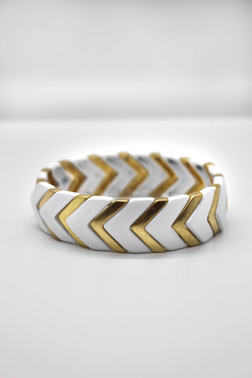 Geo Stretch Bracelet - WHITE