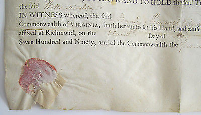 1790 VIRGINIA LAND GRANT- SIGNED BEVERLEY RANDOLPH VIRGINIA GOVERNOR