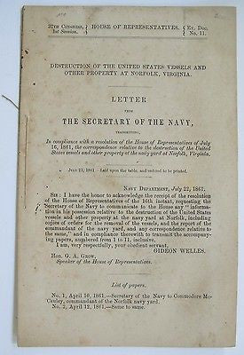 1861 Destruction of the United States Vessels And Other Property At Norfolk, VA