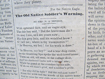 1847. Newspaper 8 issues. Rare. Native Eagle and Birthright Advocate.Immigration