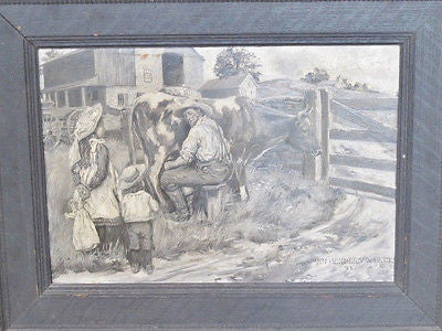 Original American Illustration 1902 Oil J H Betts Pyle Chadds Ford, PA. Mystery