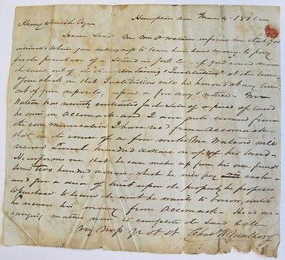 1851 Holograph Letter Chas. King Mallory, Hampton Yorktown Accomack Virginia