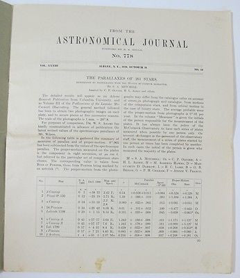 Astronomical Journal Parallaxes Stars McCormick Observatory UVA Signed