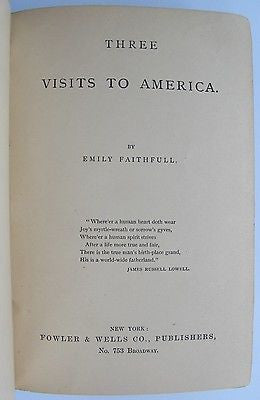 1884 Three Visits To America. English woman observes America. Female Studies.