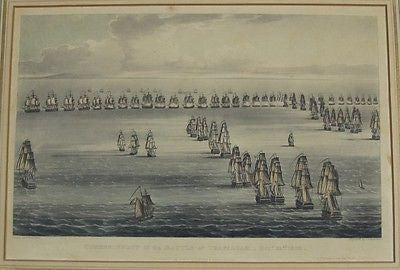 Commencement of the Battle of Trafalgar-Oct 21st, 1805 Circa 1817 Engraving Hand