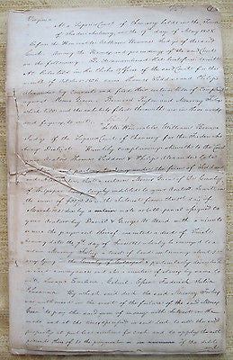 1828 Fredericksburg Virginia legal Superior Court Case – Slaves. 52 pages
