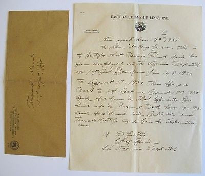 Signed Letter Eastern Steamship Lines 1935 S.S. Virginia Despatch Chief Engineer
