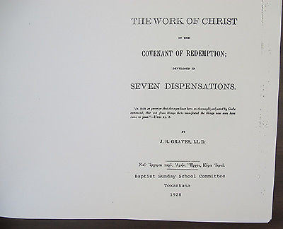 Work Of Christ In The Covenant Of Redemption. Baptist Bound Xerox copy 1928/1883