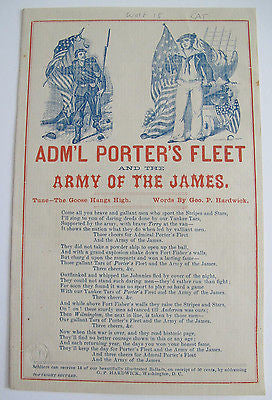 1863 Pictorial Letter sheet. Admiral Porter's Fleet. Army Of The James.