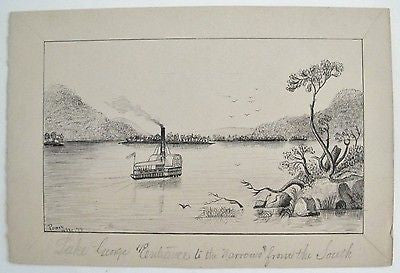 1872. PRIMITIVE PEN & INK DRAWING. HUDSON RIVER. LAKE GEORGE.