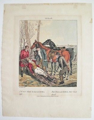 Hunting Sporting Death Satire Humor Horse 1827 Hand Colored Etching