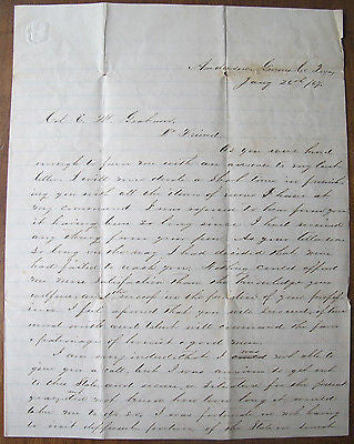 1867 ALS Grimes County, Texas Stagecoach Law Education Discipline Alabama