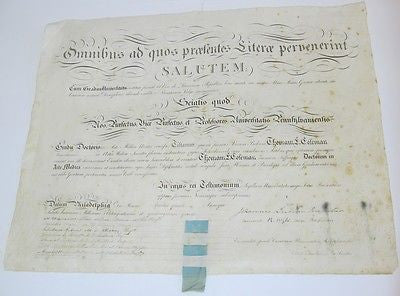 1845 University of Pennsylvania School of Medicine Diploma – Coleman – Virginia
