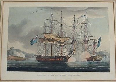 Capture of La Chifonne, Aug. 19th, 1801 Circa 1817 Engraving Hand-Colored