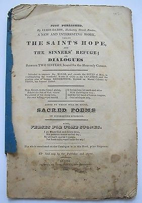 The Saints' Hope and The Sinners' Refuge 1845 Verses for Tombstones