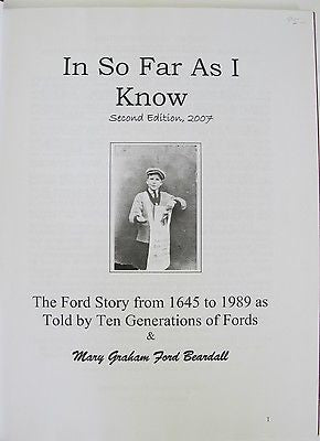 Ford Story From 1645 to 1989 Ten Generations of Fords & Mary Graham Ford Beardal