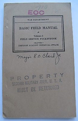 Defense Against Chemical Attack 1938 War Dept Field Manual