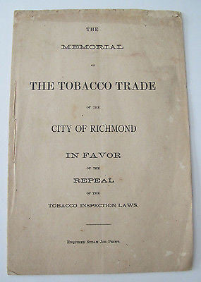 Richmond Tobacco Trade 1874 Inspection Laws Peyton Wise Virginia Agriculture