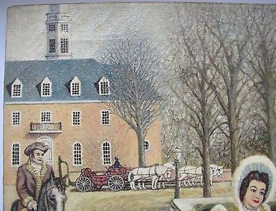 Colonial Williamsburg Folk Art Painting. (Circa 1964-65). Duke of Gloucester St