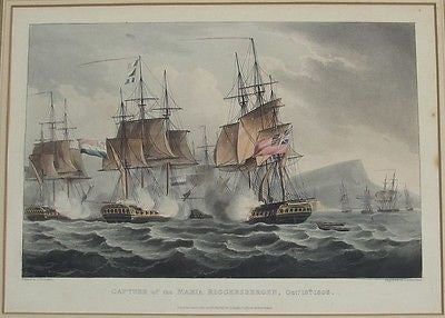 Capture of the Maria Riggersbergen Oct. 18th, 1806 Circa 1817 Engraving Hand-Col