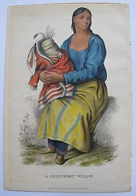 Chippeway Widow. Lithographed color plate. Printed in 1855. Native American