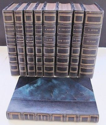 Nine (9) Classics of Literature. Circa 1930-40s French Text Fine Leather Binding