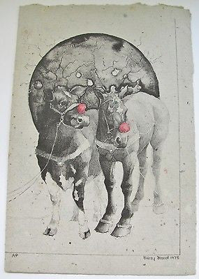 Virginia Born Female Artist Proof 1978 Signed Pig Cow Horse Rudolph the Red Nose