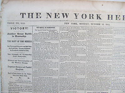 The New York Herald illustrated w/map. October 13, 1862 Newspaper. Kentucky