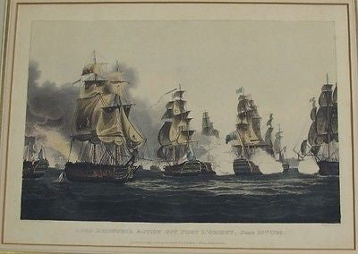 Lord Bridport's Action Off Port L'Orient, June 23rd, 1795 Circa 1817 Engraving