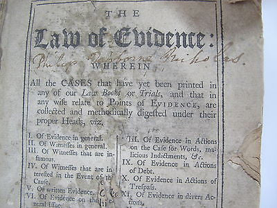 1744 Law Book Signed Philip Norborne Nicholas Virginia Attorney General Banking