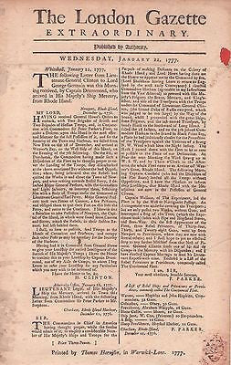 January 22, 1777 Edition London Gazette On Rebel Ships & Privateers Rhode Island