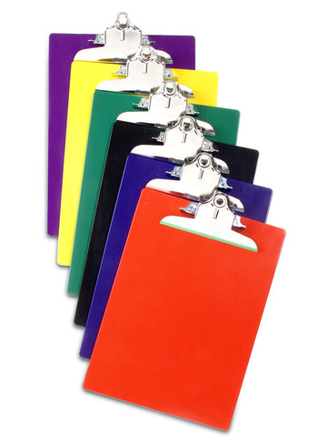 Recycled Plastic Clipboards - Assorted Colors - Letter/A4 Size - 12pk (21607)