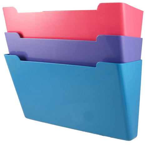 Wall File Pocket - Assorted Colors (Pink, Purple, Teal) - Letter Size - 3pk (27275)