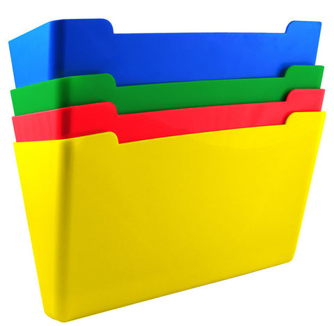 Wall File Pocket - Assorted Colors (Red, Yellow, Green, Blue) - Letter Size - 4pk (27926)