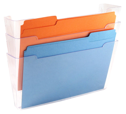 Wall File Pocket - Clear - Letter Size - 3pk (27274)