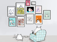 Illustration of Cats looking at Cat Art | Carla Martell