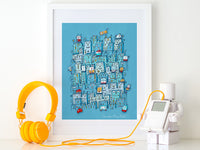 Little Robot City | Kids Art Print by Carla Martell