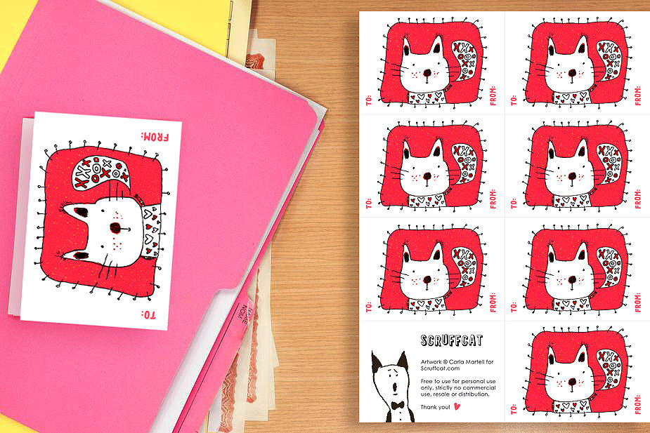 Cat Valentines Card Printable by Scruffcat
