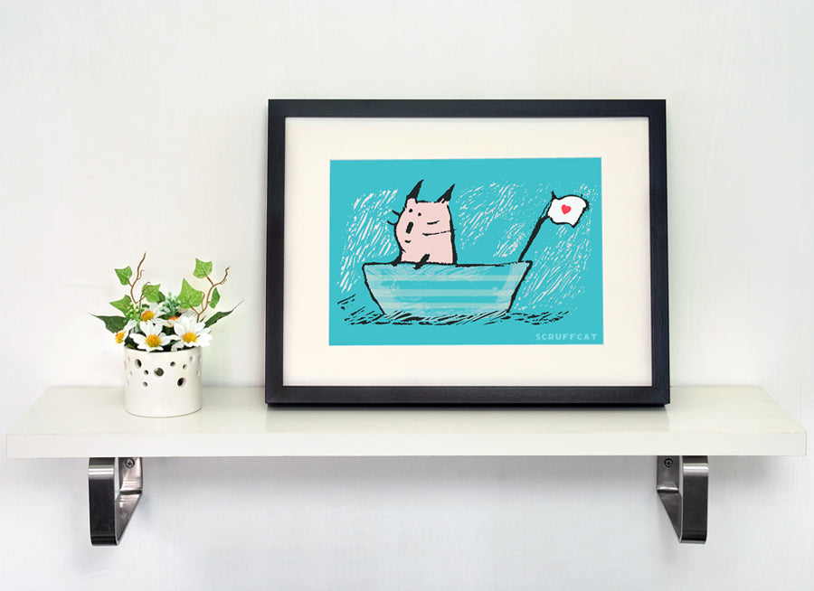 Sweet Sailor Cat art print by Carla Martell | Scruffcat