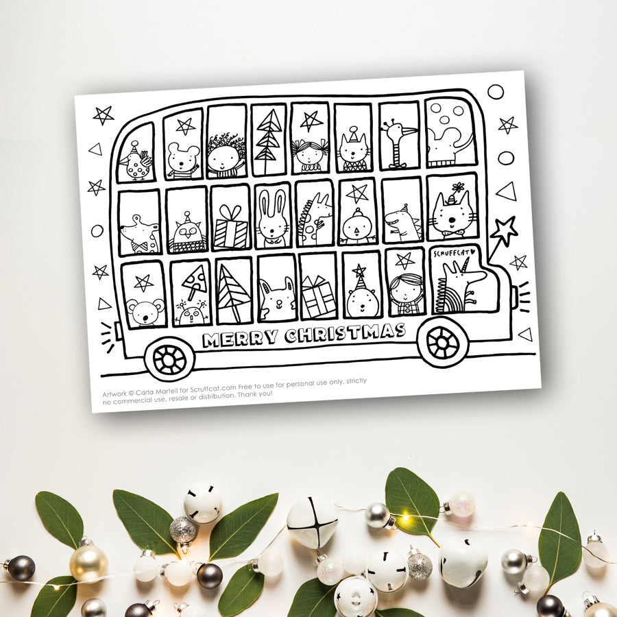 Xmas Bus Colouring Page for Kids | Scruffcat