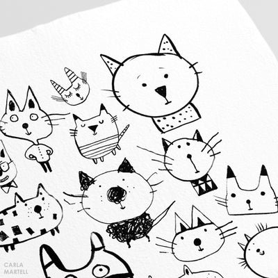 Carla Martell | 22 Cats Art Print Closeup