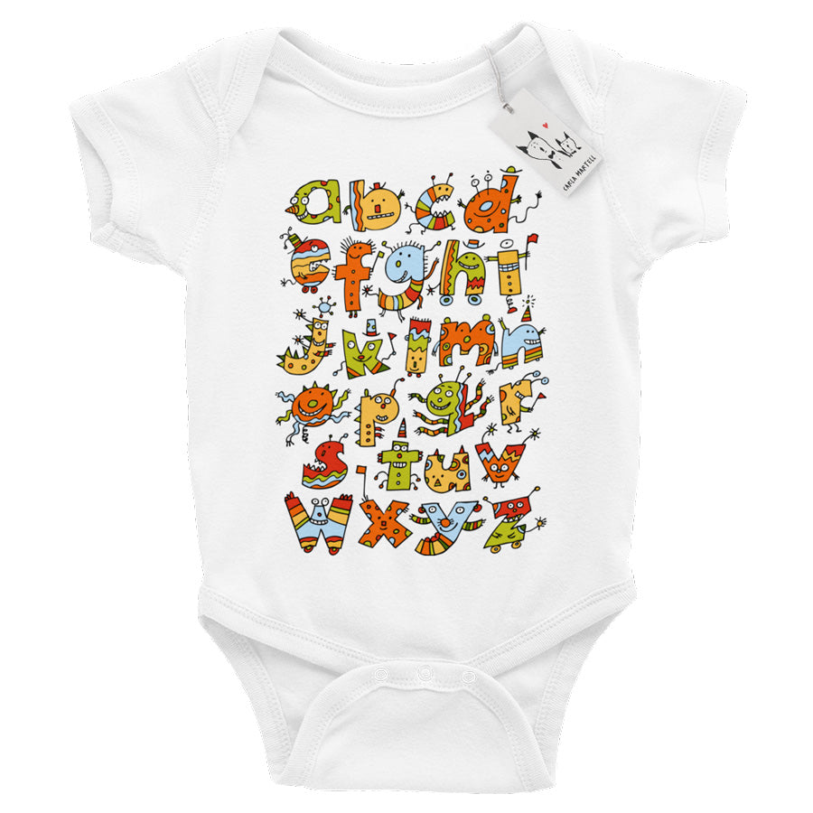Alphabet Monsters Baby Bodysuit | Carla Martell