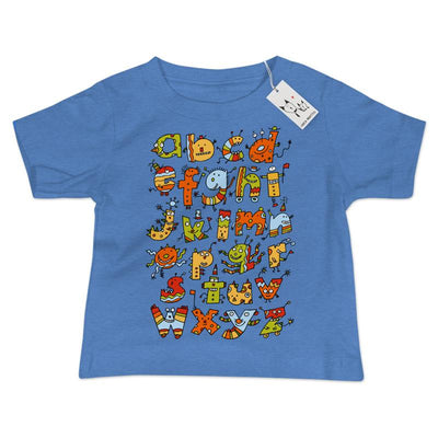 Alphabet Monsters Baby T Shirt | Heather Blue | Carla Martell