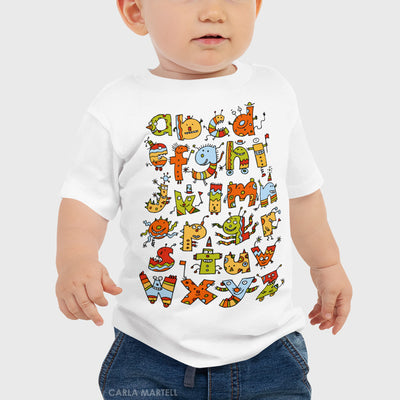 Alphabet Monsters Baby T Shirt by Carla Martell