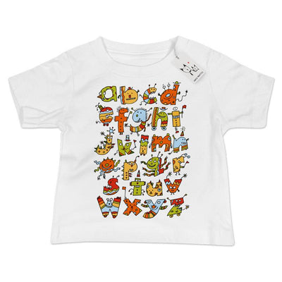 Alphabet Monsters Baby T Shirt | White | Carla Martell
