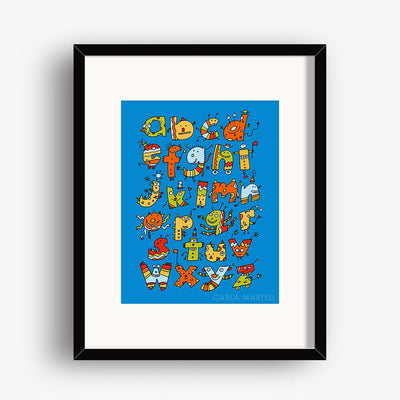 Carla Martell | Alphabet Monsters Children's Art Print | 8 x 10""