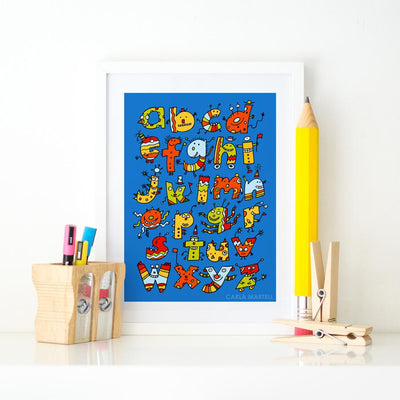 Alphabet Monsters Children's Art Print | Carla Martell