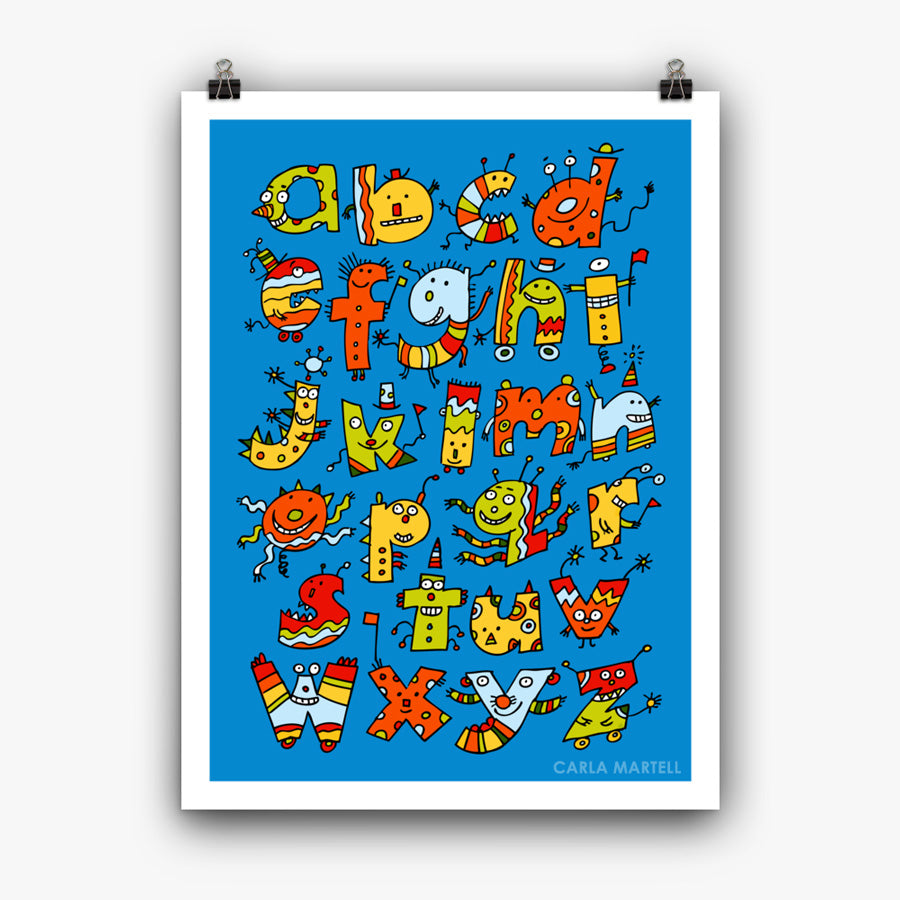 Carla Martell | Alphabet Monsters Children's Art Print | 18 x 24""