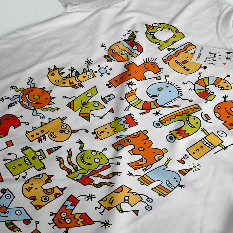 Alphabet Monsters Youth T Shirt closeup | Carla Martell