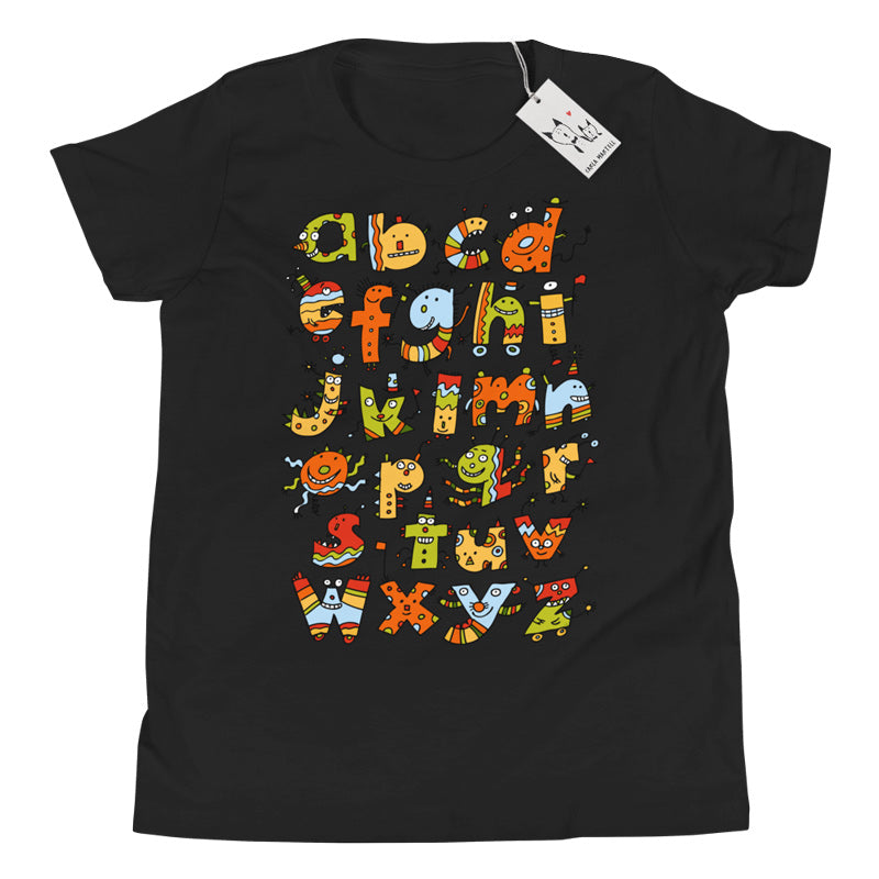 Alphabet Monsters Youth T Shirt | Black | Carla Martell